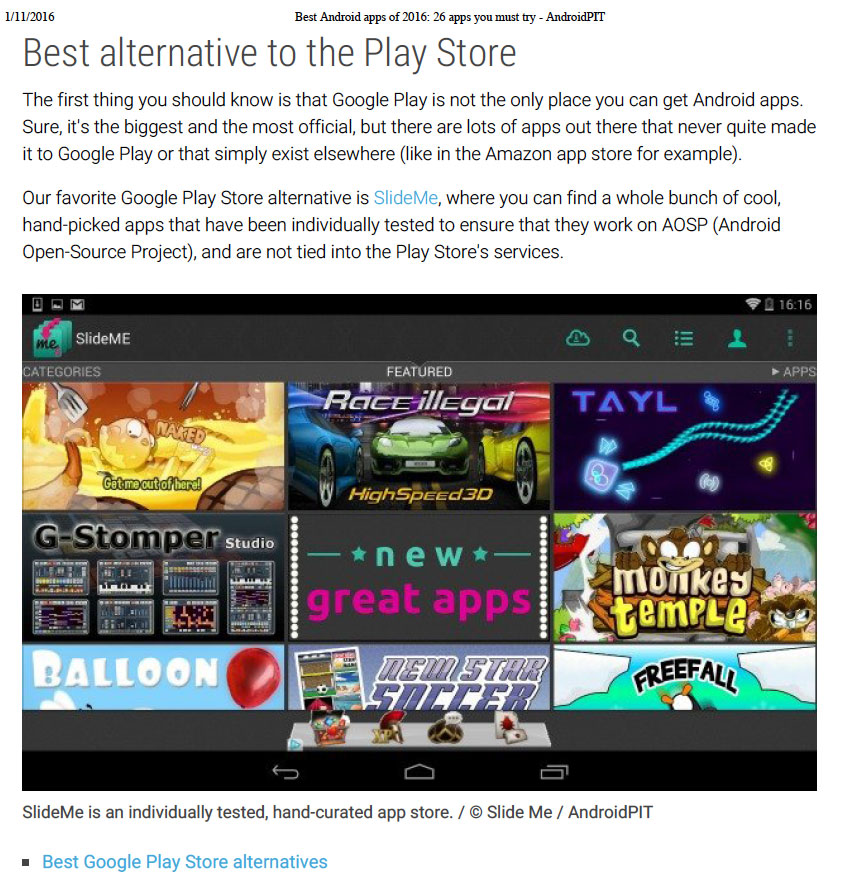 SlideME Marketplace was rated best alternative to Google Play by AndroidPit